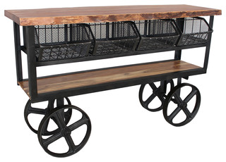 Slab Wood and Iron Trolley