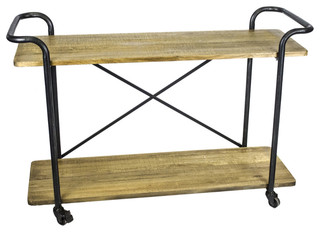Minimalistic Two Tiered Bar Cart Brown and Black