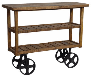 Burney Mango Wood Industrial Cart