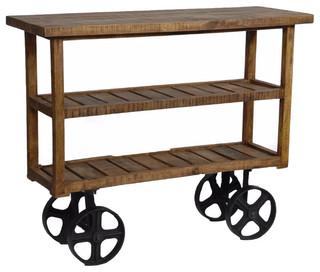 Burney Mango Wood Industrial Cart