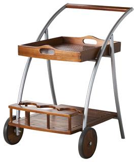 Dover Farmhouse Cottage Dark Oak Acacia Wood Bar Cart