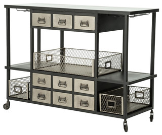 Infinity Industrial Bar Cart Black Antique Nickel