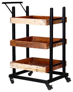 Colorado Springs Solid Wood 3 Tier Wheeled Industrial Bar Cart