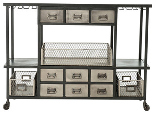 Autumn Elle Design Cruz Industrial Bar Cart Black Antique Nickel