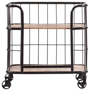 Pulaski Accentrics Home Industrial Wood and Metal Bar Cart Brown