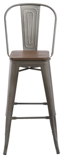 30 quot Metal Antique Bronze Rustic BarStool Chair High Back Wood Seat Set of 4