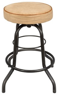 Iron Pipe Base Counter Stool With Canvas Seat