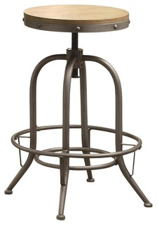 Adjustable Bar Stool with Distressed Wood Seat by Coaster 122098 Set of 2