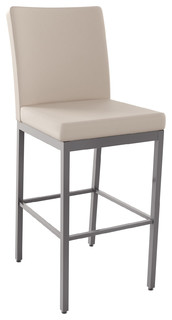 Perry PU Stool Base Magnetite Glossy Gray Seat Beige Bar Height