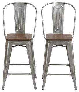 24 quot Clear Metal Antique Bar height Stool Chair High Back Wood Seat Set of 2