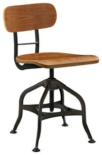 Modern Industrial Antique Vintage Style Dining Stool Chair Brown Metal Wood