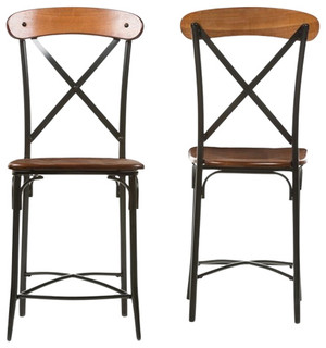 Broxburn Wood and Metal Bar Stools Set of 2 Light Brown