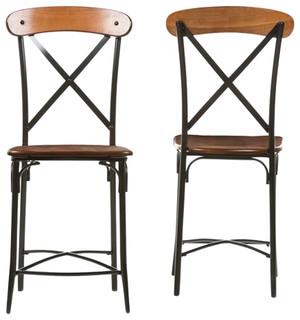 Broxburn Wood and Metal Bar Stools Set of 2 Light Brown