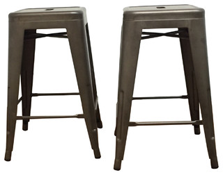 24 quot Industrial Antique Style Rustic Distressed Metal Bar Stools Set of 2