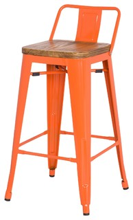 Grand Metal Low Back Counter Stools Set of 4 Orange