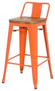 Grand Metal Low Back Counter Stools Set of 4 Orange