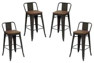 Purenity 24 x27 x27 Matte Metal Industrial Wood Top Counter Stool Set of 4