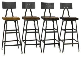 Hopkins Reclaimed Wood Bar Stools Set of 4 Beeswax 25 quot