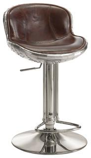 Brancaster Aluminum amp Top Grain Leather Adjustable Swivel Stool Vintage Brown