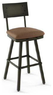 Upholstered Swivel Counter Stool With Metal Backrest