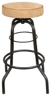 Iron Pipe Base Bar Stool With Canvas Seat