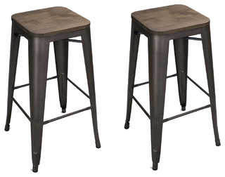 Heston Counter Stools Set of 2 Black and Bronze