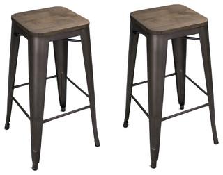 Heston Counter Stools Set of 2 Black and Bronze