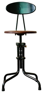 L x27 Usine Adjustable Counter Stool With Back Seared Oak