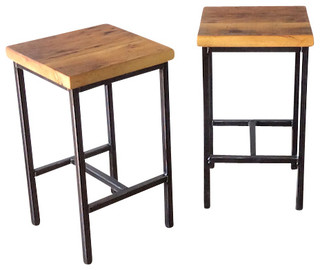 Reclaimed Wood Backless Stools Set of 2