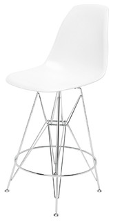 Eiffel Reproduction White Plastic Chrome Frame Modern Counter Stool Pair