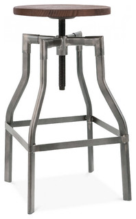 Machinist Gunmetal Wood Adjustable Barstool Gunmetal Dark Wood