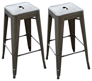 Loft Metal Bar Stool Set of 2 Gun Metal Silver
