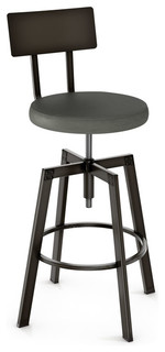 Adjustable Screw Counter Stool With Upholstered Seat