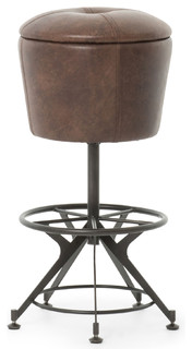Pullman Industrial Loft Brown Leather Black Iron Barstool