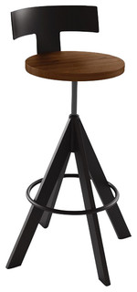 Amisco Uplift Screw Stool Upholstered Seat and Metal Backrest