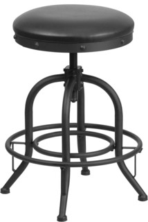 Stool With Swivel Lift Black Leather Seat Counter Height
