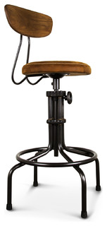 Brexton Adjustable Oak Leather Cushion Stool