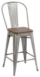 24 quot Antique Clear Metal Counter height Stool Chair High Back Wood Seat Set of 4