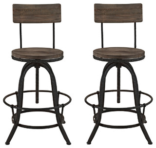 Industrial Modern Dining Bar Stools Brown Metal Set of 2