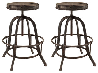Collect 2 Piece Bar Stool Set Brown