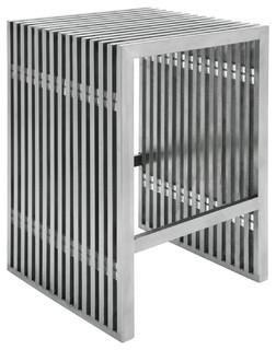 Holden Industrial Loft Stainless Steel Slatted Modern Counter Stool
