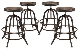 Industrial Modern Dining Bar Stools Brown Metal Set of 4