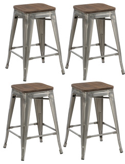 24 quot Metal Antique Style Brush Distressed Counter Bar Stools Wood Seat Set of 4