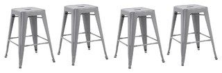 Silver 24 Stackable Metal Vintage Style Counter Bar Stools Silver Set of 4