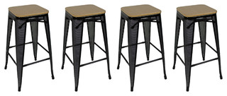 Stackable Metal Mesh Bar Stools With Bamboo Tops Set of 4 Black