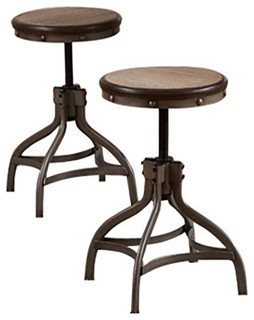 Round Adjustable Counter Height Stool Bronze Set of 2