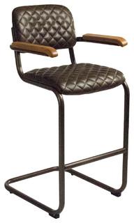 Prenz Industrial Loft Walnut Brown Quilt Leather Metal Bar Stool