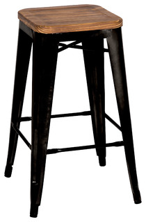 Metropolis Backless Counter Stools Black Set of 4