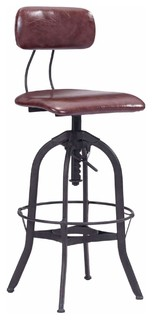 Zuo Modern Gering Bar Chair Burgundy and Antique Black
