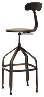 Architect x27 s Industrial Bar Stools With Backrests Set of 2 Antiqued Copper